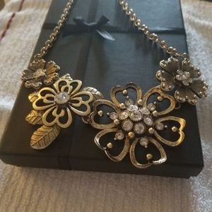 Flower and jewel  necklace